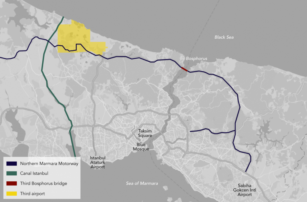 Planned and Existing Megaprojects in Istanbul, 2017