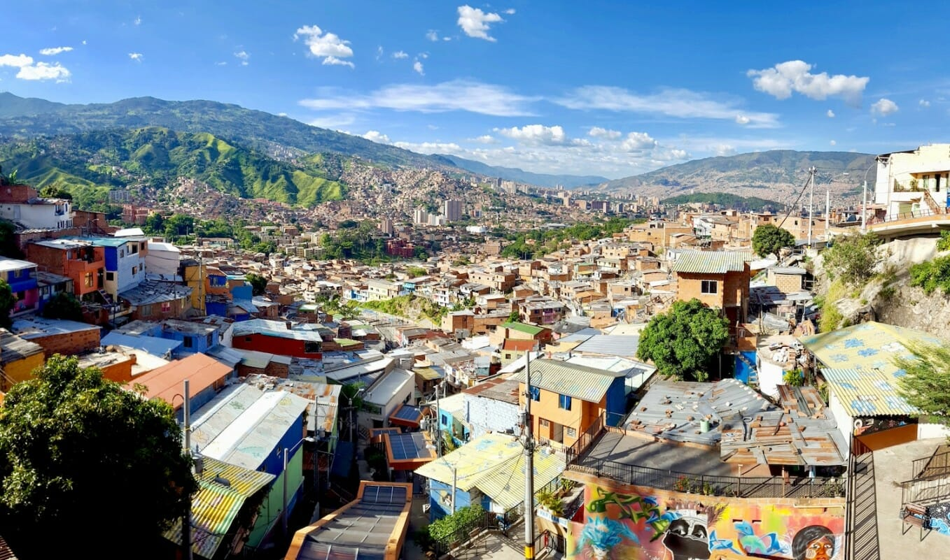 The Comuna 13 neighbourhood in Medellin, Colombia, formerly one of the city's most dangerous districts. July 2016. Melanie Snail/emerge85